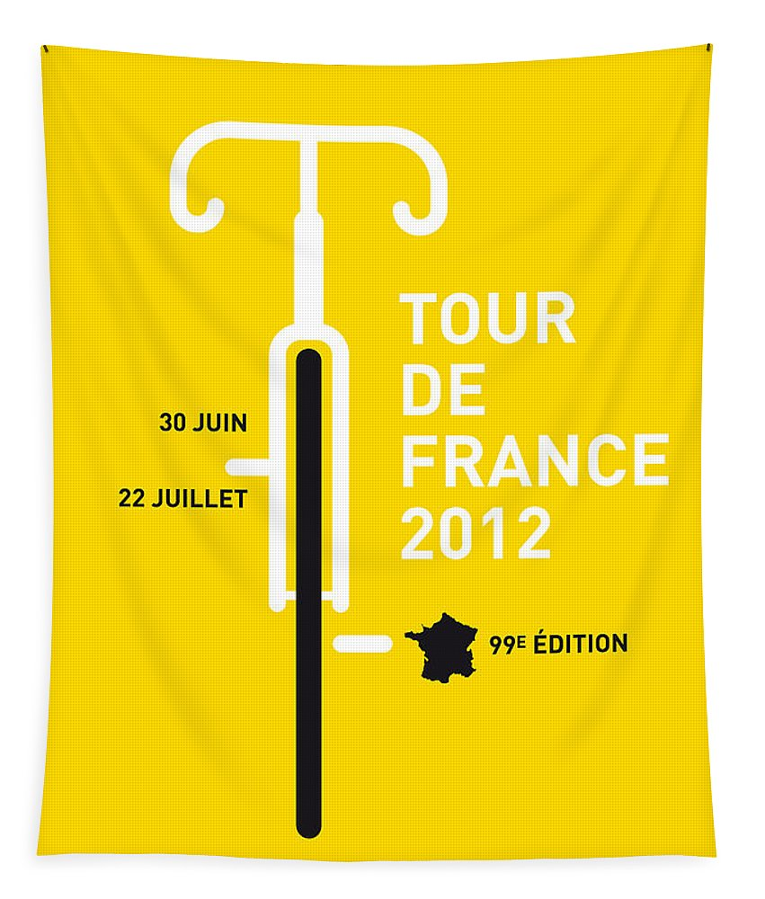 2012 Tapestry featuring the digital art My Tour De France 2012 Minimal Poster by Chungkong Art