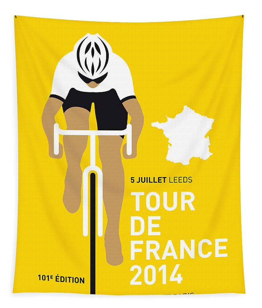 Minimal Tapestry featuring the digital art My Tour De France Minimal Poster 2014 by Chungkong Art