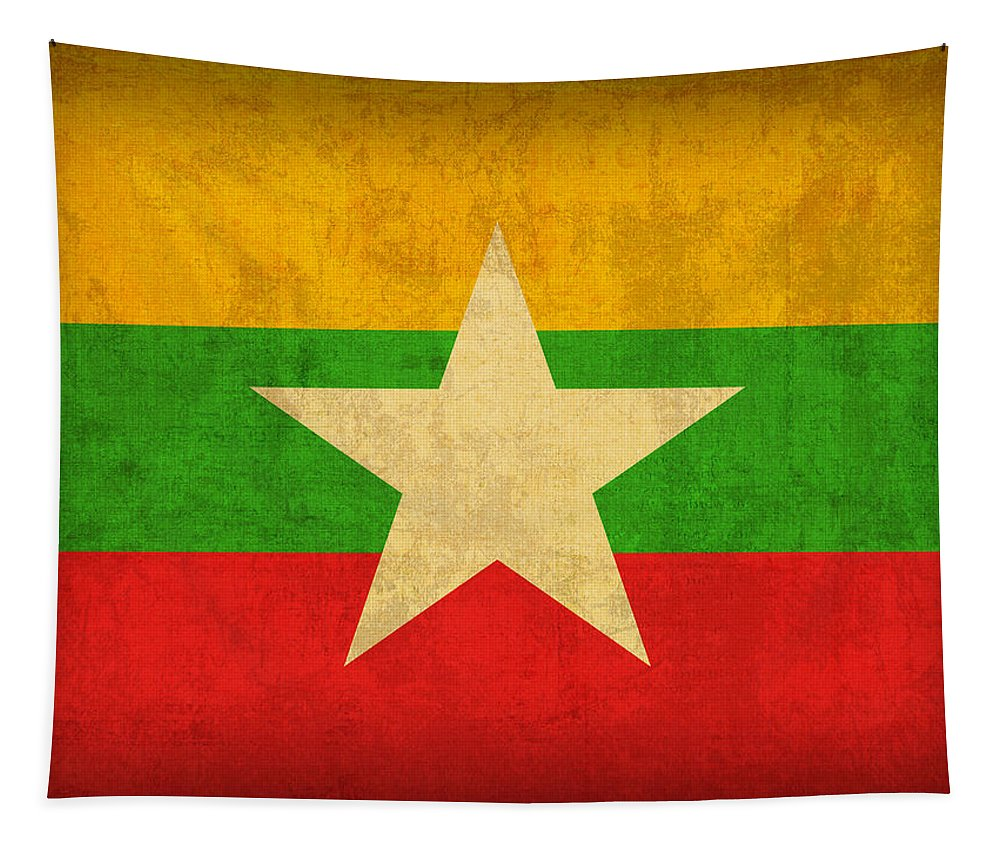 Myanmar Tapestry featuring the mixed media Myanmar Burma Flag Vintage Distressed Finish by Design Turnpike