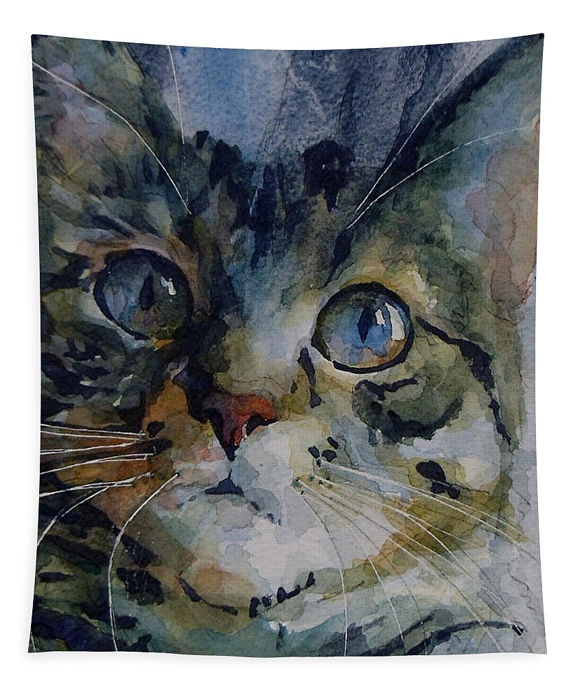 Tabby Tapestry featuring the painting Mystery Tabby by Paul Lovering