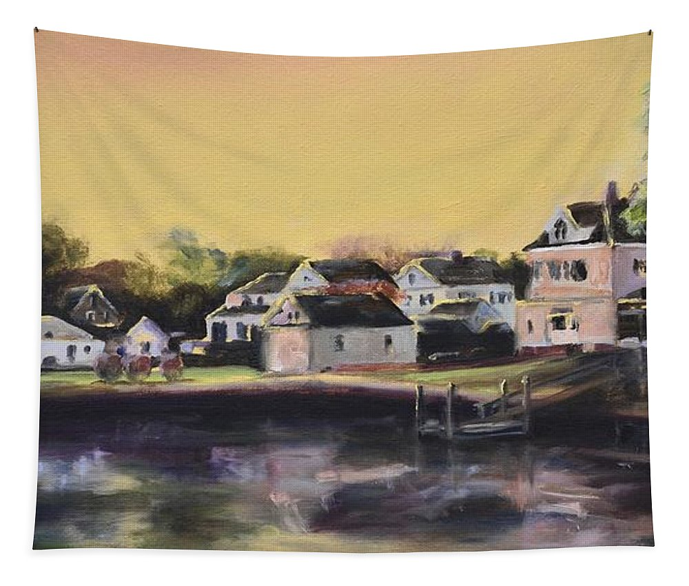 Town Tapestry featuring the painting Mystic Morning by Donna Tuten