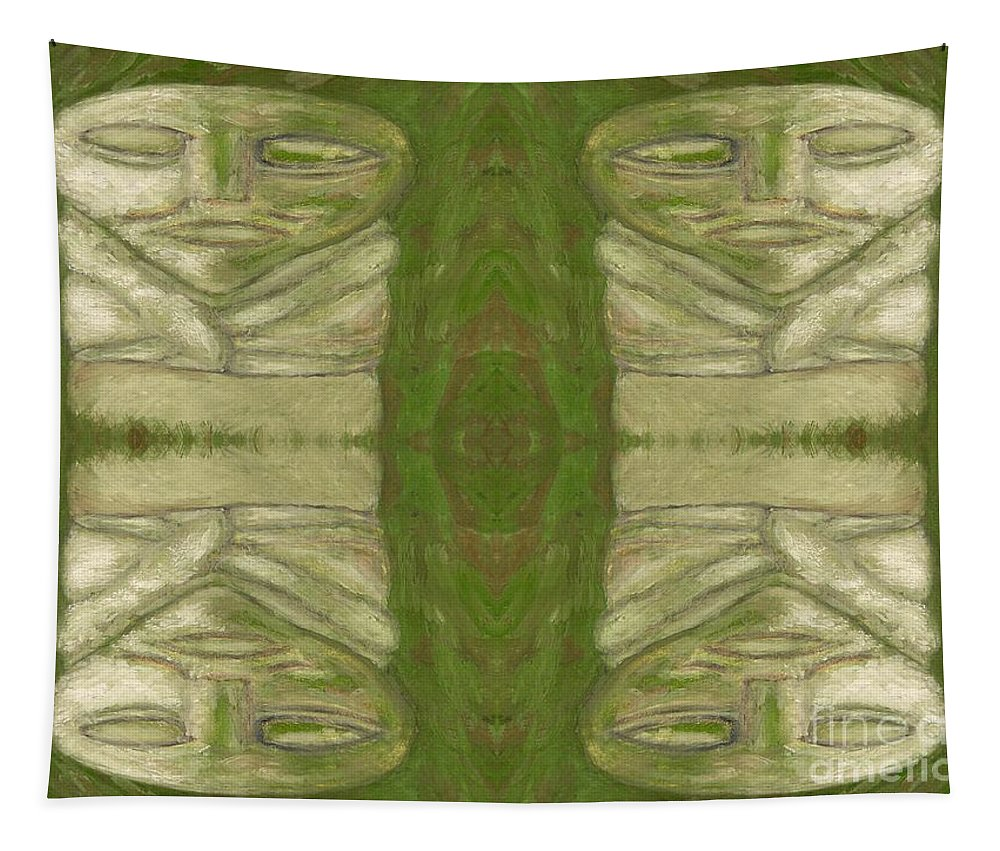 Stones Tapestry featuring the painting Mystical Stone Statues by Patrick J Murphy