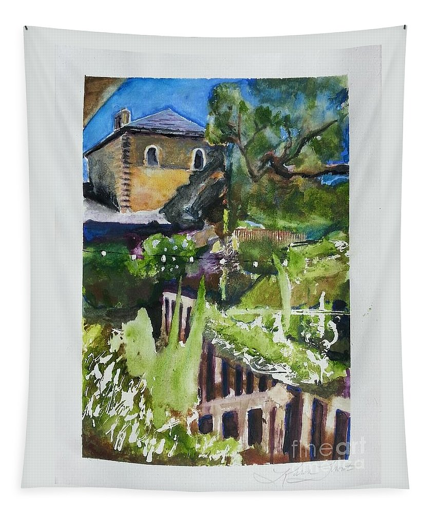 Napa Valley Winery Painting Tapestry featuring the painting Napa Valley Winery In June by Karen Trout