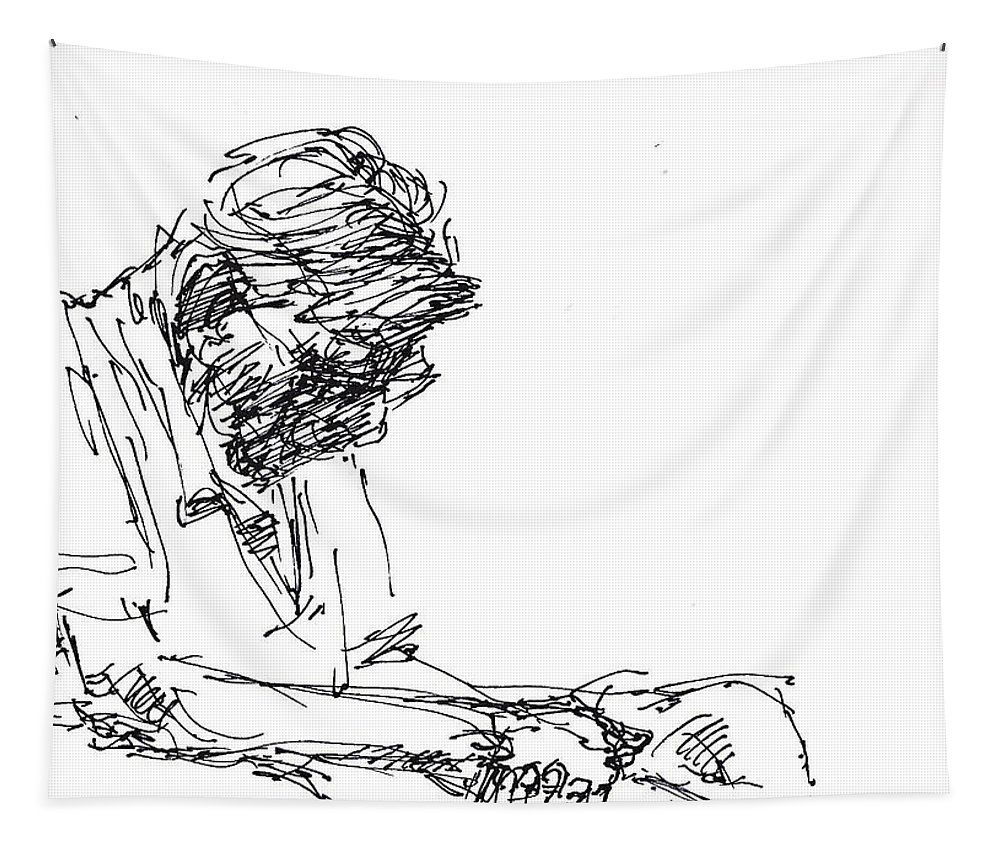Man Napping Tapestry featuring the drawing Napping At Waiting Room by Ylli Haruni