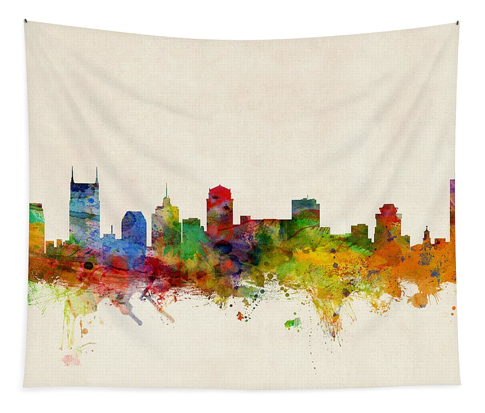 Watercolour Tapestry featuring the digital art Nashville Tennessee Skyline by Michael Tompsett