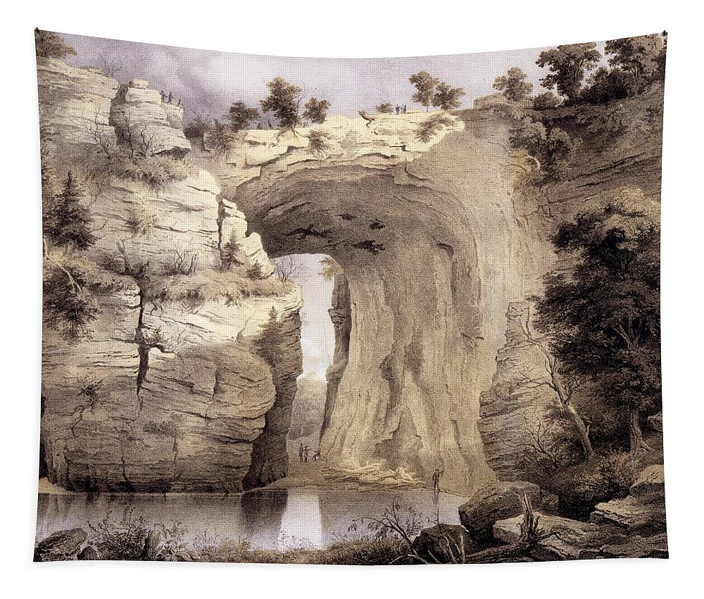 Virginia Tapestry featuring the drawing Natural Bridge, Rockbridge County by Edward Beyer