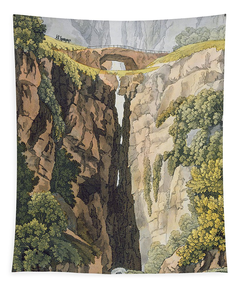 Possibly Brazil Tapestry featuring the drawing Natural Bridge, Valle Dicononzo by Gerolamo Fumagalli