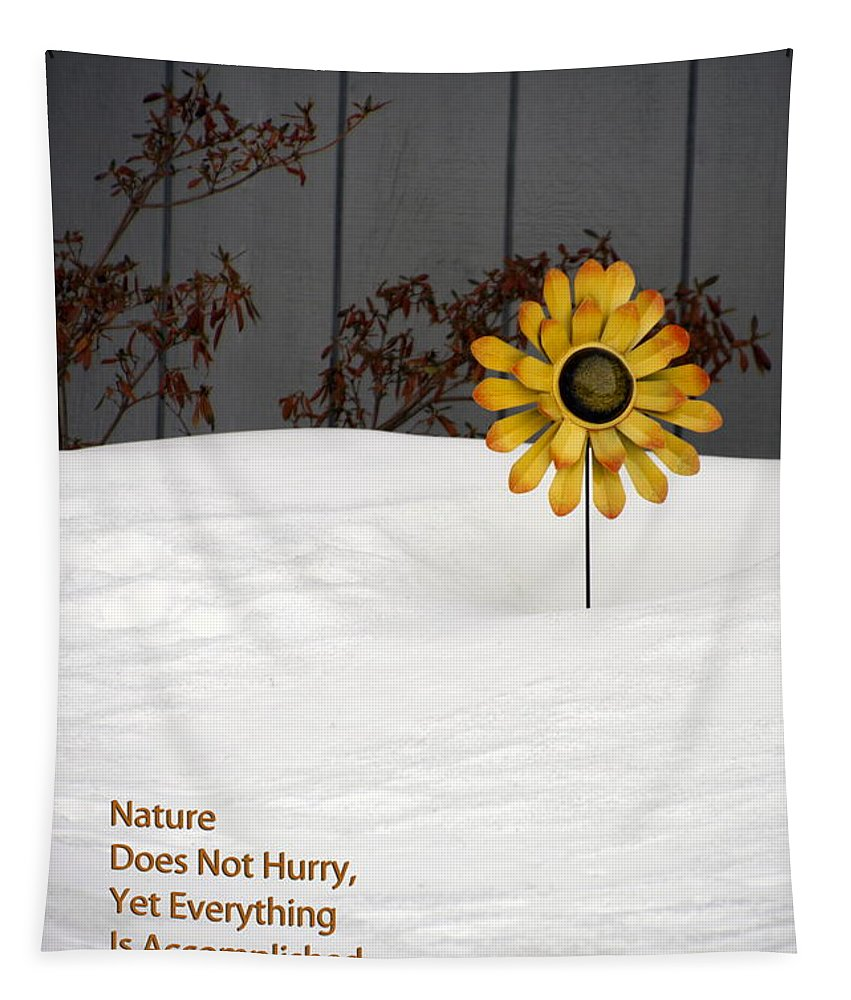Sunflower Tapestry featuring the photograph Nature Does Not Hurry Waiting For Spring by Thomas Woolworth