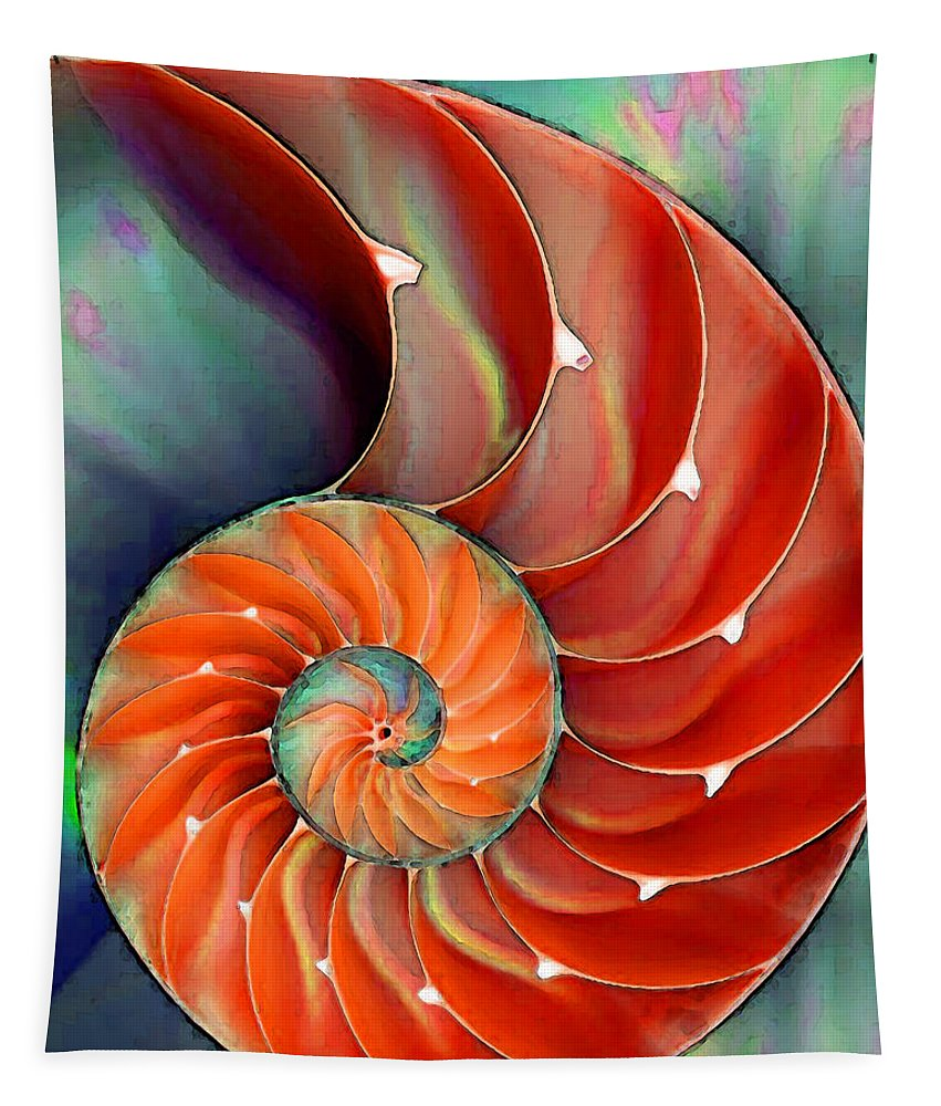Nautilus Tapestry featuring the painting Nautilus Shell - Nature's Perfection by Sharon Cummings