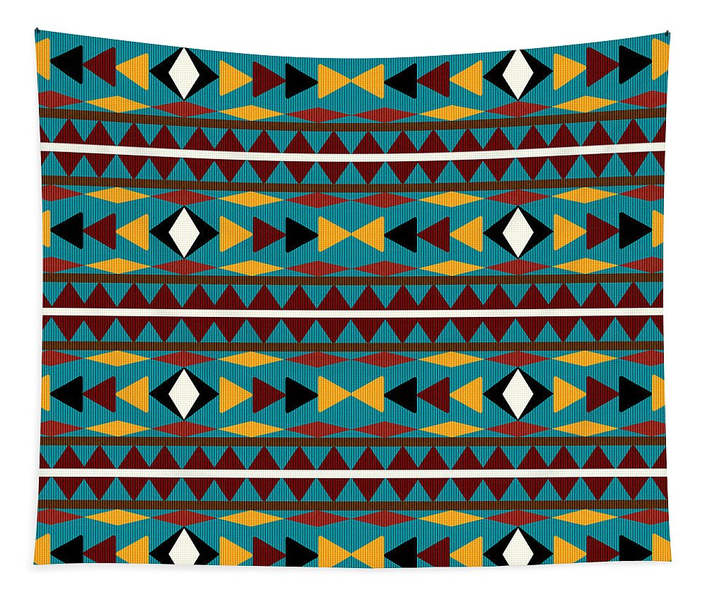 Navajo Tapestry featuring the mixed media Navajo Teal Pattern by Christina Rollo