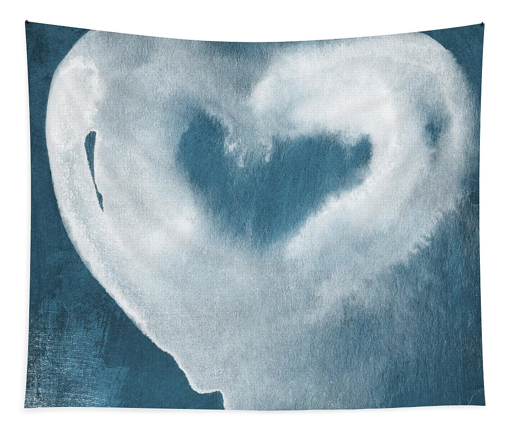 Love Tapestry featuring the mixed media Navy Blue and White Love by Linda Woods