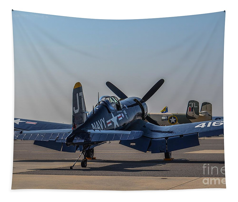 Chance Vought Tapestry featuring the photograph Navy Corsair by Dale Powell