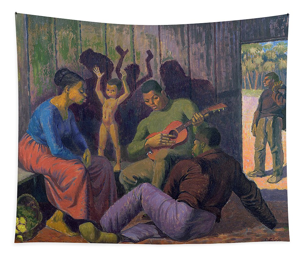 Black Tapestry featuring the painting Negro Spritual, 1959 by Osmund Caine