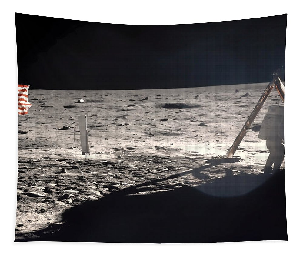 Neil Armstrong Tapestry featuring the photograph Neil Armstrong On The Moon - 1969 by Mountain Dreams