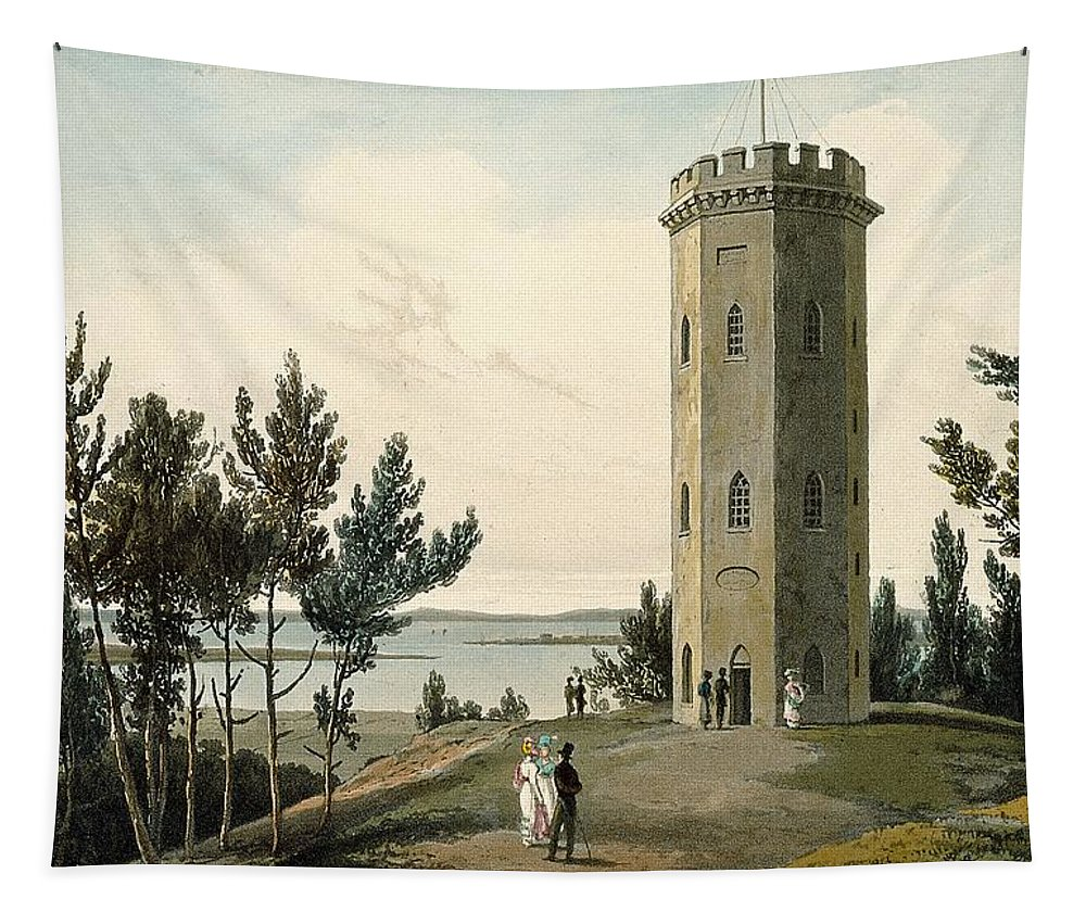 Octagonal Tapestry featuring the drawing Nelsons Tower, Forres, From A Voyage by William Daniell