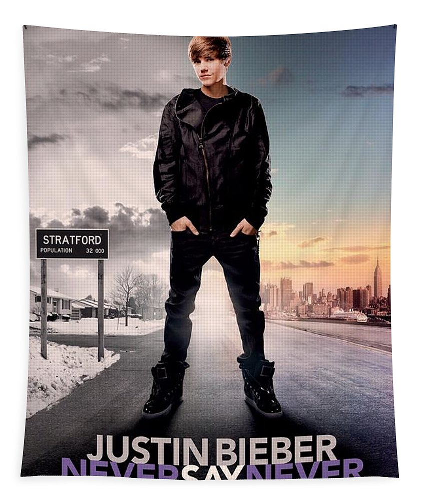 Justin Bieber Tapestry featuring the photograph Never Say Never 1 by Movie Poster Prints