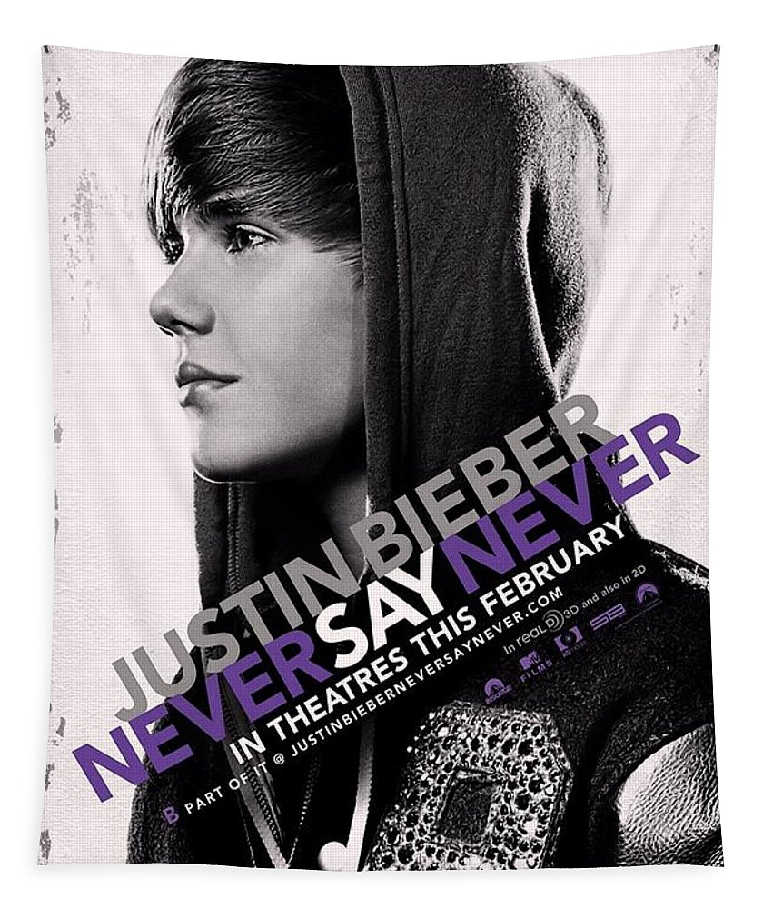 Justin Bieber Tapestry featuring the photograph Never Say Never 2 by Movie Poster Prints