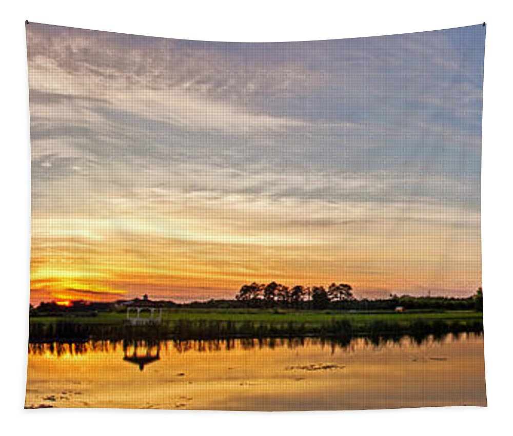 Nature Tapestry featuring the photograph New Jersey Sunset Panoramic by Tom Gari Gallery-Three-Photography