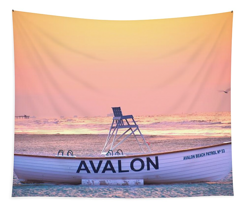 Avalon; In The; Morning; New Jersey; New; Jersey; Beach; Bird; Life; Boat; Lifeboat; Guard; Lifeguard; Dawn; Sunrise; Pier; Seascape; Sea; Ocean; Atlantic Tapestry featuring the photograph New Morning In Avalon by Bill Cannon
