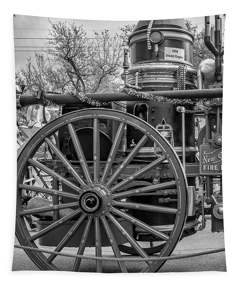 Nola Tapestry featuring the photograph New Orleans Fire Department 1896 Bw by Steve Harrington