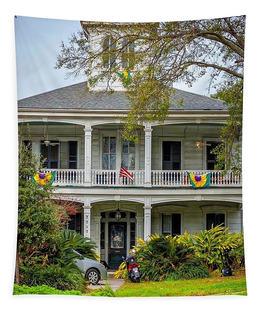 Mardi Gras Tapestry featuring the photograph New Orleans Frat House by Steve Harrington