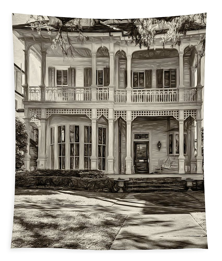 Home Tapestry featuring the photograph New Orleans Home - Paint Sepia by Steve Harrington