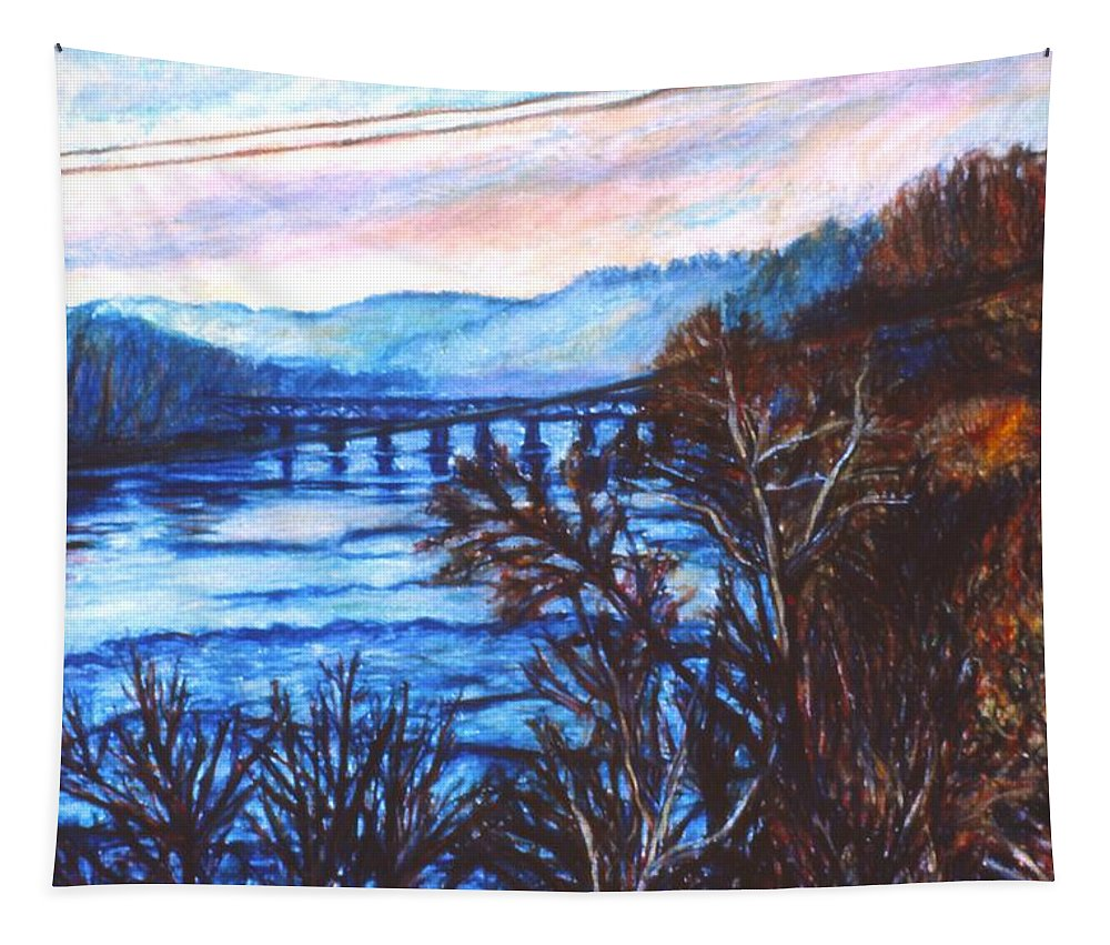 New River Trestle Tapestry featuring the painting New River Trestle In Fall by Kendall Kessler