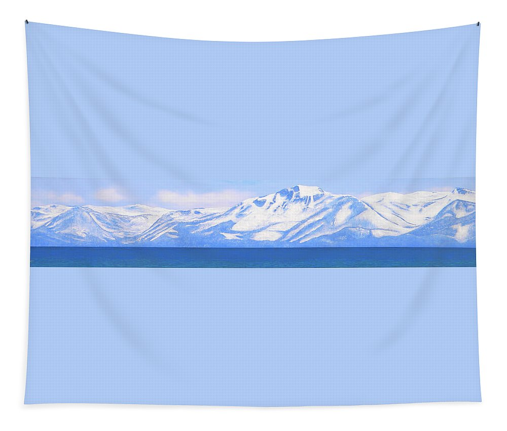 Lake Tahoe Tapestry featuring the painting New Snow Lake Tahoe by Frank Wilson