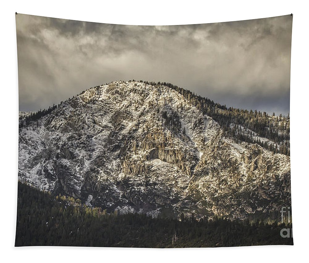 New Snow On Maggie's Peak Tapestry featuring the photograph New Snow On Maggie's Peak by Mitch Shindelbower