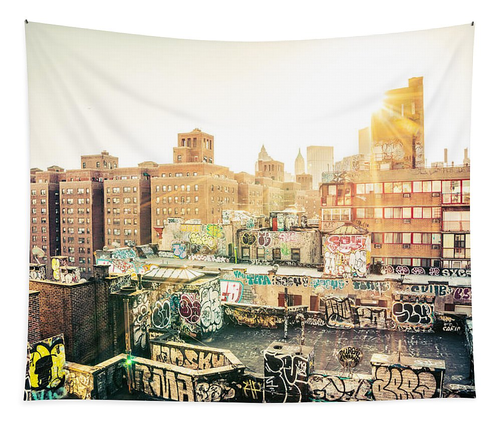 1 Wtc Tapestry featuring the photograph New York City - Graffiti Rooftops of Chinatown at Sunset by Vivienne Gucwa