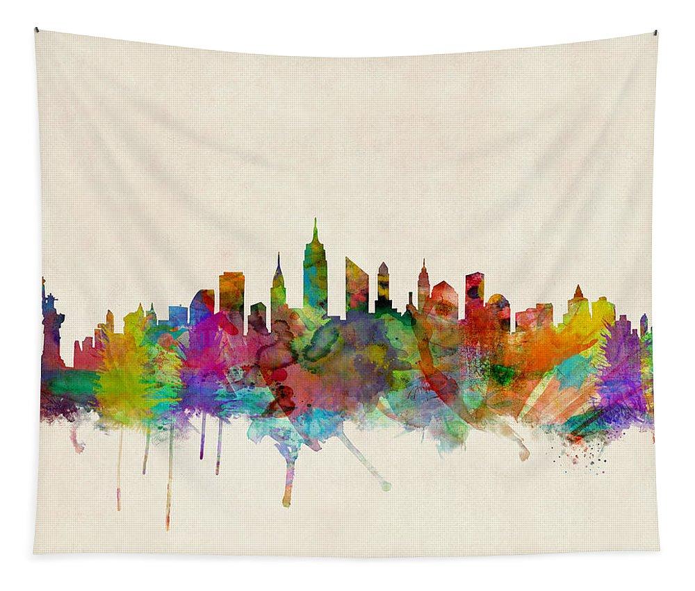 New York Tapestry featuring the digital art New York City Skyline by Michael Tompsett