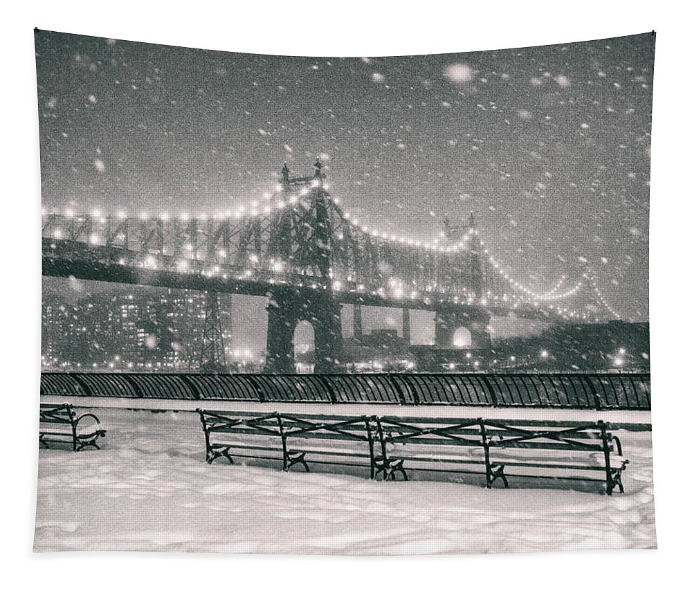 Nyc Tapestry featuring the photograph New York City - Snow at Night - Sutton Place by Vivienne Gucwa