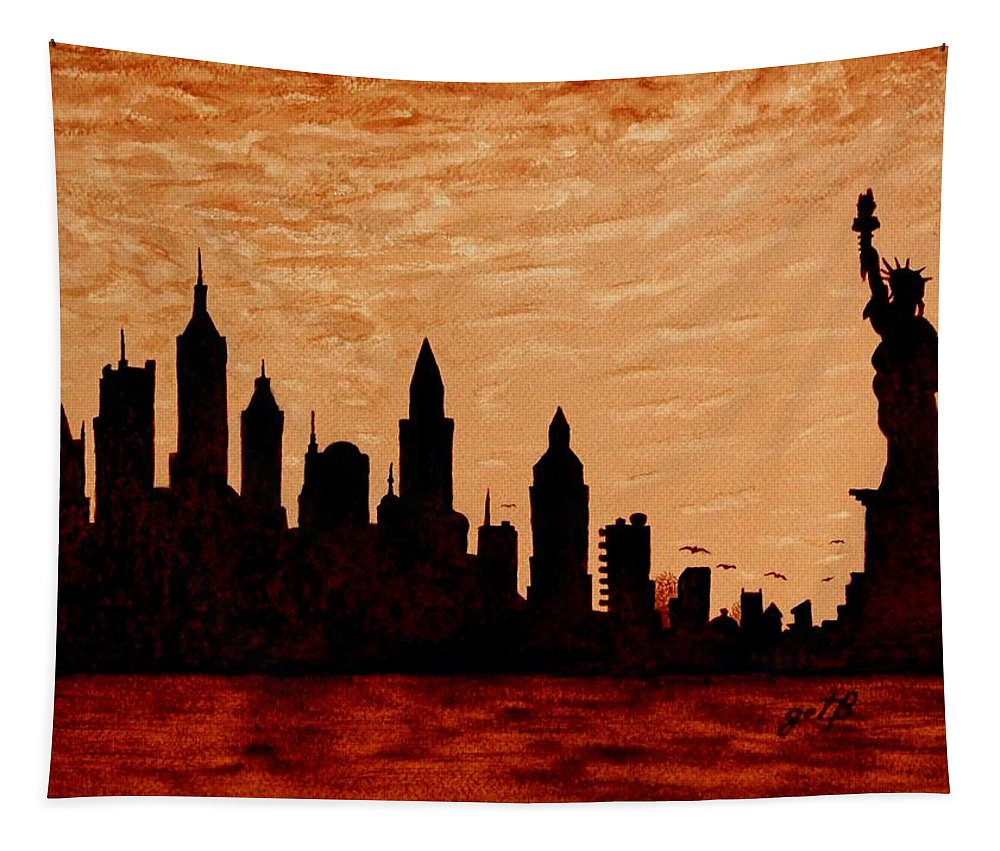 New York City Tapestry featuring the painting New York City Sunset Silhouette by Georgeta Blanaru