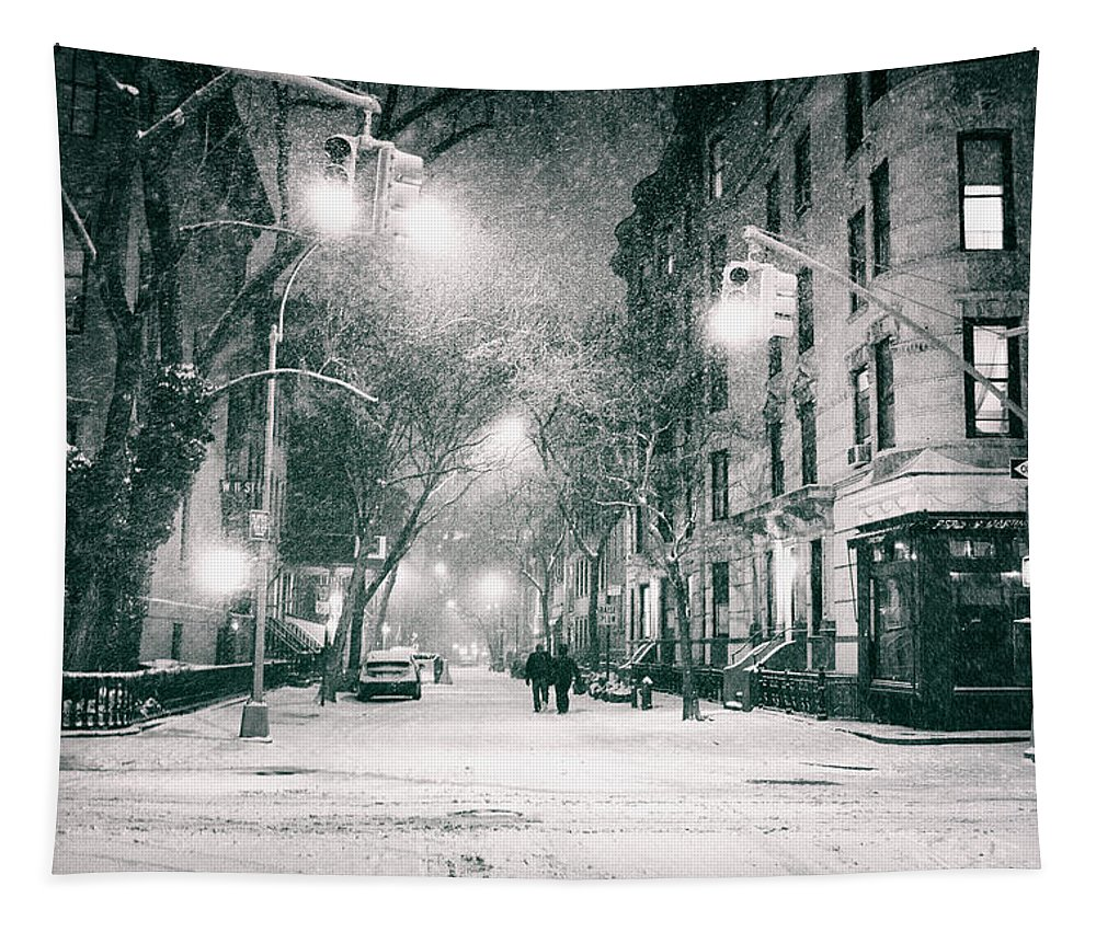 Nyc Tapestry featuring the photograph New York City - Winter Night in the West Village by Vivienne Gucwa