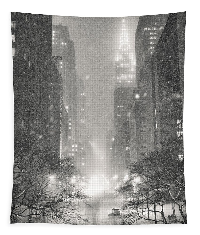 Nyc Tapestry featuring the photograph New York City - Winter Night Overlooking the Chrysler Building by Vivienne Gucwa