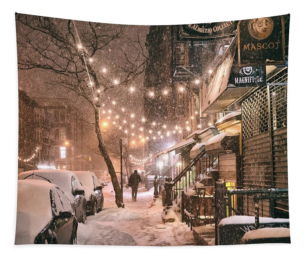 Nyc Tapestry featuring the photograph New York City - Winter Snow Scene - East Village by Vivienne Gucwa