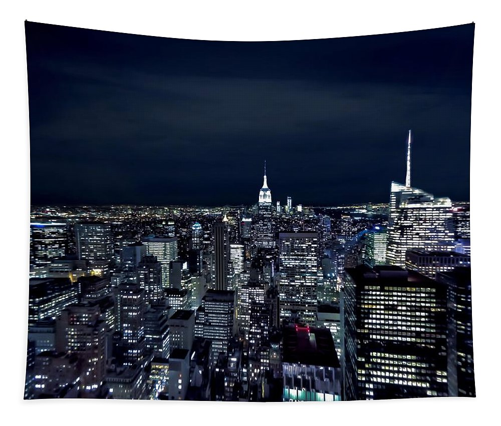 New York Evening Tapestry featuring the photograph New York Evening by Dan Sproul