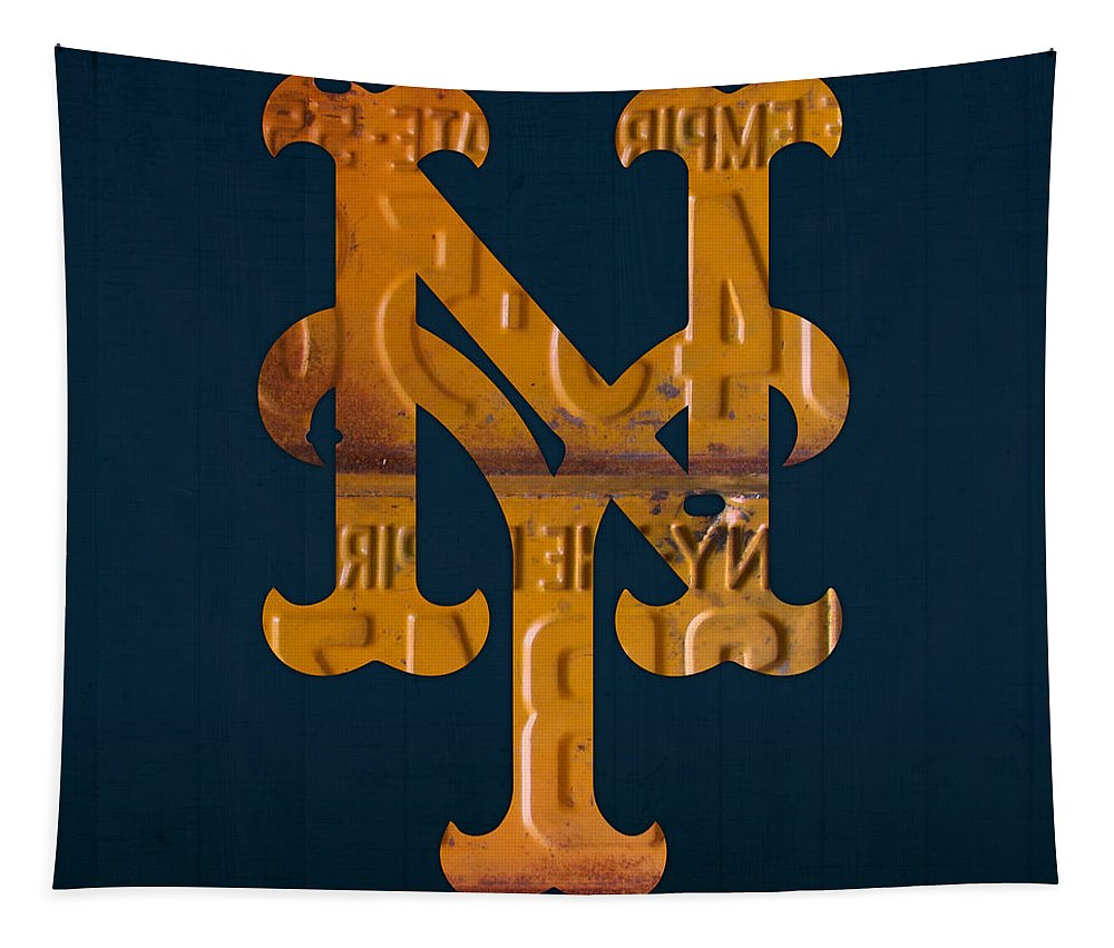 New Tapestry featuring the mixed media New York Mets Baseball Vintage Logo License Plate Art by Design Turnpike