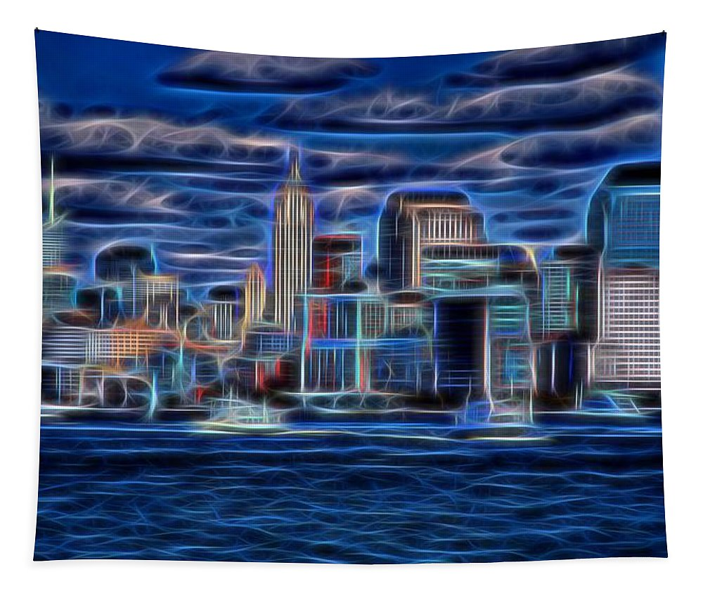 Lower Manhattan Tapestry featuring the digital art New York New York by Dan Sproul