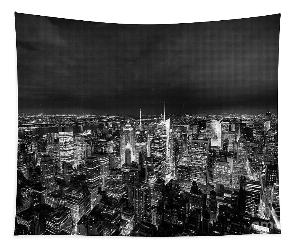 New York Tapestry featuring the photograph New York Skyline 3bw by Matt Malloy