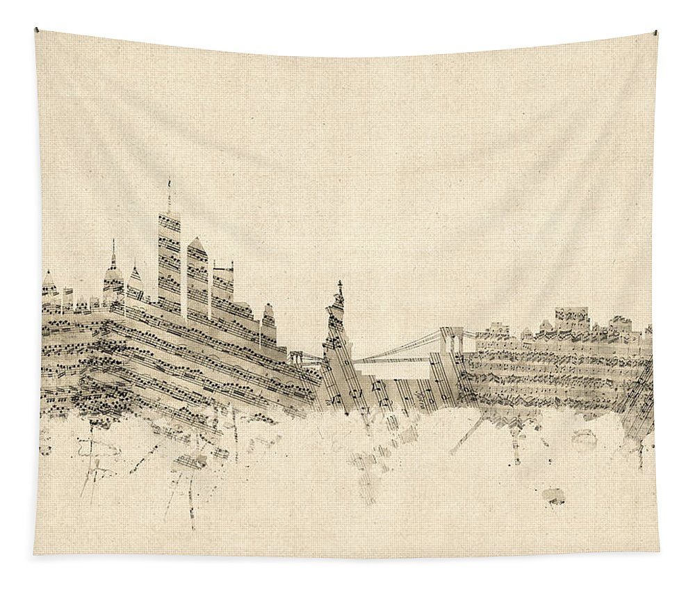 United States Tapestry featuring the digital art New York Skyline Sheet Music Cityscape by Michael Tompsett