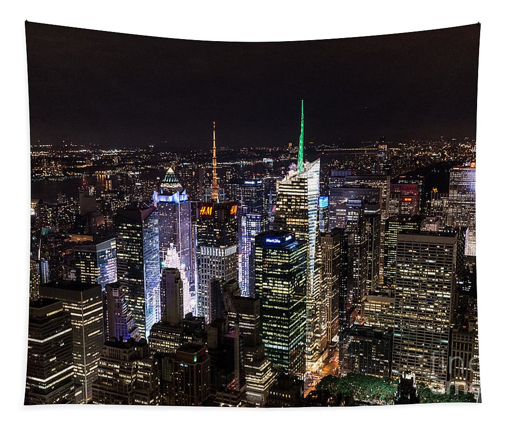 New York Tapestry featuring the photograph New York Times Square by Matt Malloy