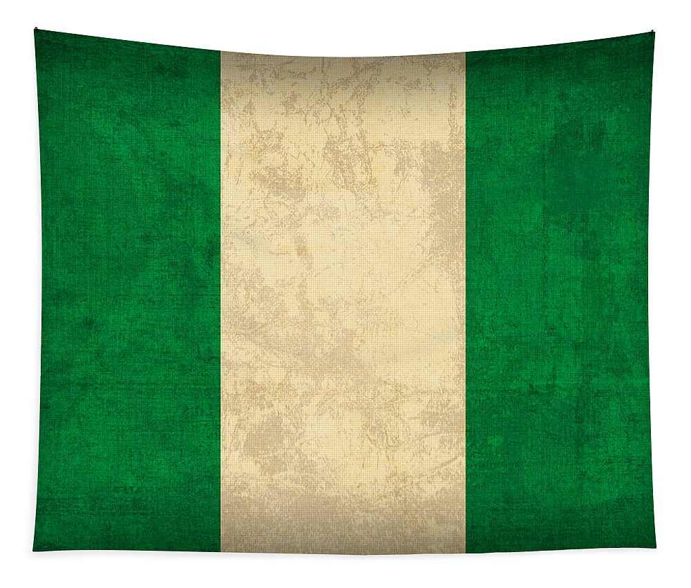 Nigeria Tapestry featuring the mixed media Nigeria Flag Vintage Distressed Finish by Design Turnpike