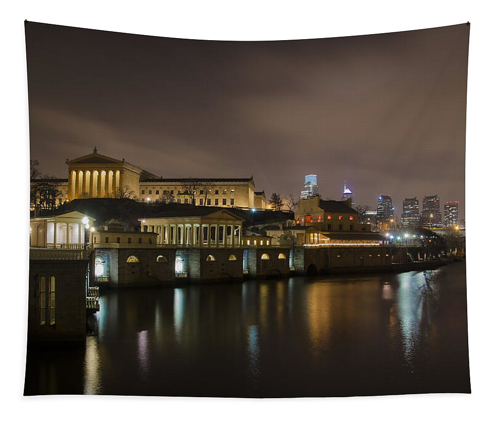 Night Tapestry featuring the photograph Night At Fairmount Waterworks And The Philadelphia Art Museum by Bill Cannon