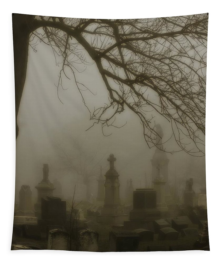 Dark Fog Tapestry featuring the photograph Dark Rolling Night Fog by Gothicrow Images