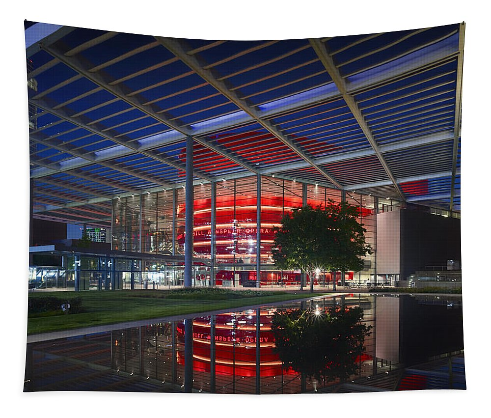 Winspear Opera House Tapestry featuring the photograph Night Lights Of The Winspear Opera House - Dallas by Mountain Dreams