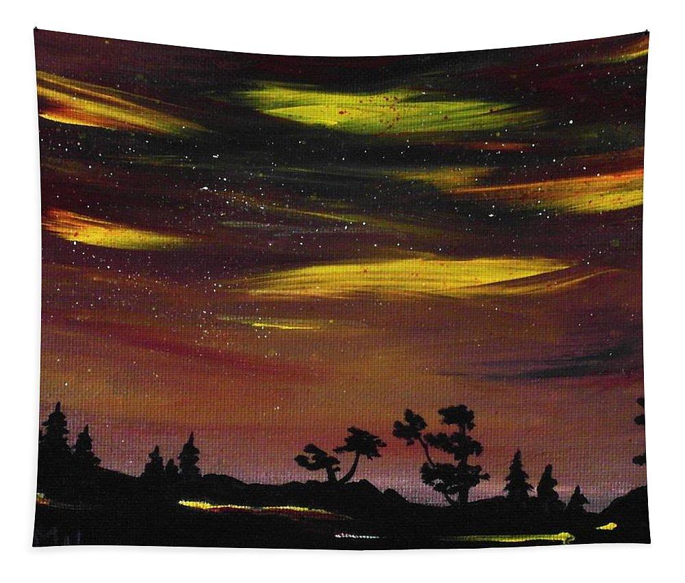 Calm Tapestry featuring the painting Night Scene by Anastasiya Malakhova