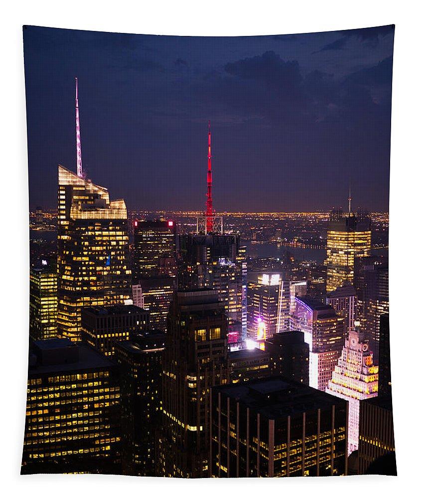 Hakon Soreide Tapestry featuring the Night View Of New York by Hakon Soreide