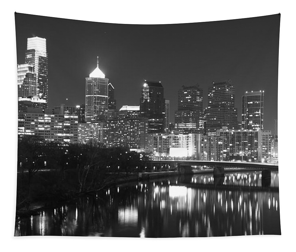 Philadelphia Night Black White City View Reflectios Tapestry featuring the photograph Nighttime In Philadelphia by Alice Gipson