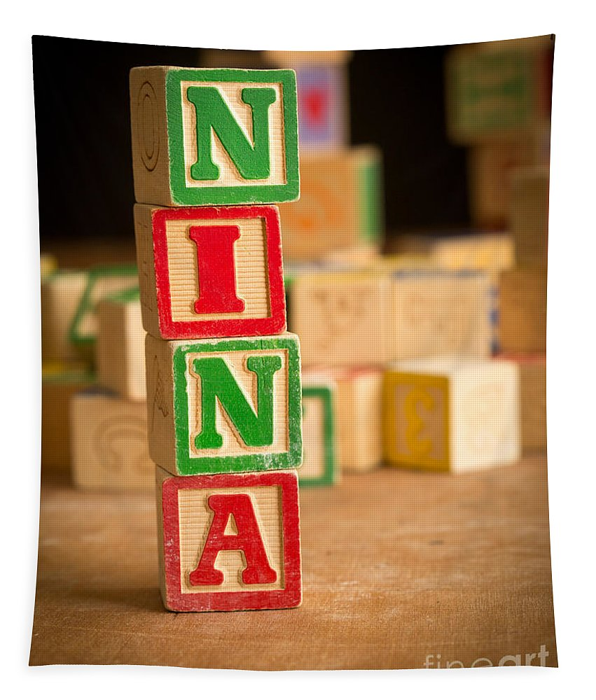 Abcs Tapestry featuring the photograph Nina - Alphabet Blocks by Edward Fielding